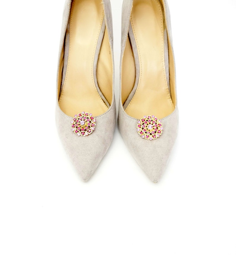 11e8314c0088b VACATION *** Gold shoe clips with pink zircons - shoe clips Manuu, shoe  jewelry, wedding shoe clips, bridal shoe clips,bridal shoes