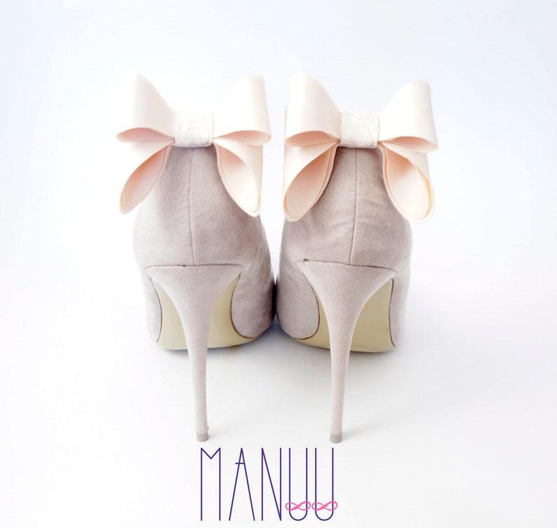 23a55c4f6e6 Light beige nude bows shoe clips shoe clips Manuu wedding