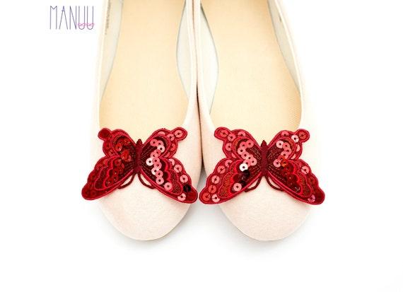 1e8a047875f33 Claret butterflies with sequins - Shoe clips Manuu, Bridal shoe clips,  Wedding shoe clips, Shoe clips women