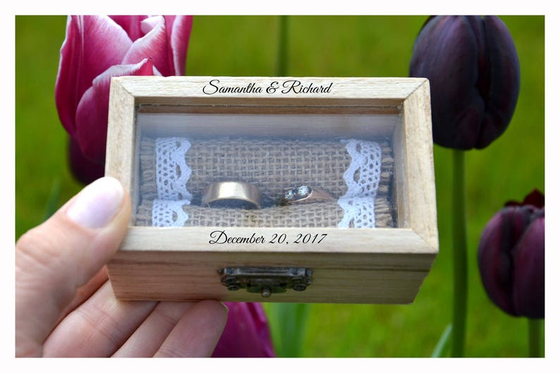 ring box Personalized ring box with glass lid wedding box image 0
