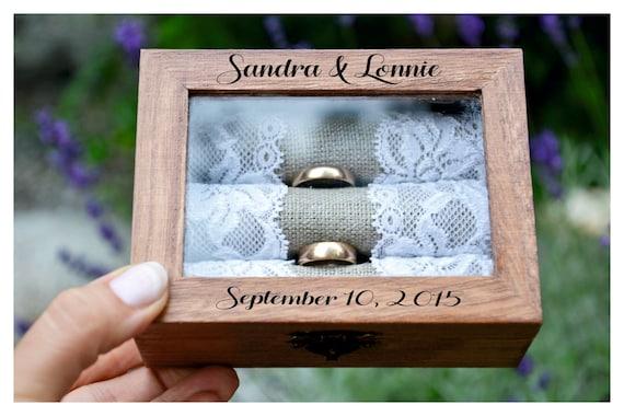 R50 wooden ring box ring bearer box,engagement ring box ring box wedding box Personalized ring box with glass lid custom ring holder