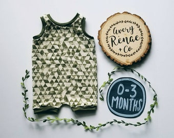 Baby Boy Romper Oatmeal & Olive Geometric Size 0-3 Months READY TO SHIP
