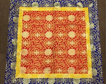Tibetan Buddhist Silk Brocade Red Shrine Lotus Design Table Cover / Altar Cloth / Runner
