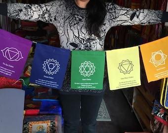 Tibetan Buddhism 7 Chakras prayer flags / Lungta / Free Shipping