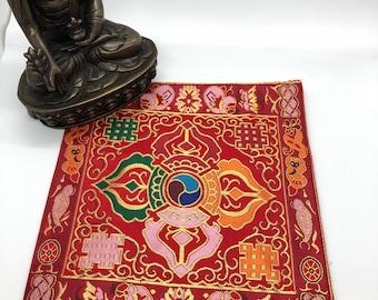 Tibetan Buddhist Double Dorje / Cross Vajra silk brocade shrine table cover / altar cloth / mats / placemats / Free Shipping