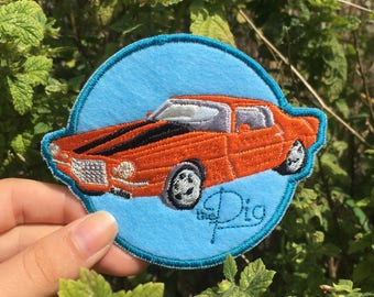 Embroidered Patch: Gansey's 1973 Orange Camero, The Pig ( Raven Cycle )