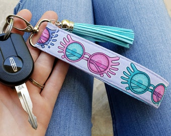 Lovegood Keychain Wristlet | Spectrespecs Key Fob | Potter Gifts for Her | Stay Weird Lanyard | Nargles, Quibbler, Wrackspurts | Luna Gift