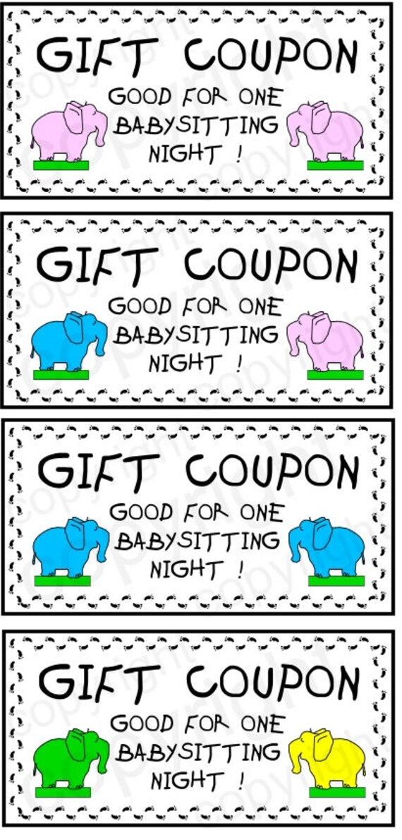 Printable GIFT COUPON BABYSITTING Instant Download 4 | Etsy