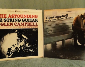 Glen Campbell– The Astounding 12-String Guitar Of Glen Campbell 1964 and By The Time I Get To Phoenix 1967 (Lot of 2 LP,Album) Country Music