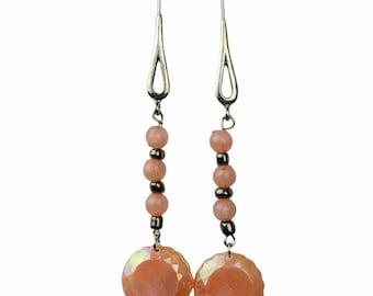 Iridescent Pink Silver Earrings Handmade Boho Beaded Fashion Costume Jewelry