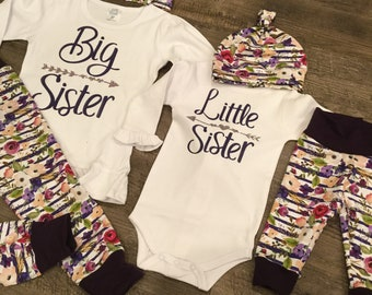 Big sister little sister matching sibling outfits   baby shower gift    newborn gift   announcement outfits 345178f68