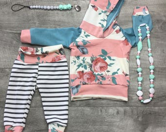 Baby girl outfit / springtime hoodie