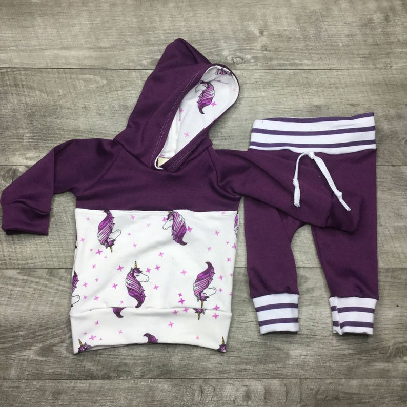ed773e05b Baby girl unicorn hoodie and pants outfit fun baby clothing