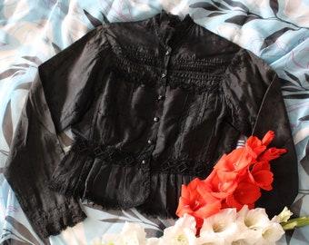 Vintage Victorian Antique Black Bodice Jacket Blouse - Pleats, Floral Lace and Blue Plaid Lining