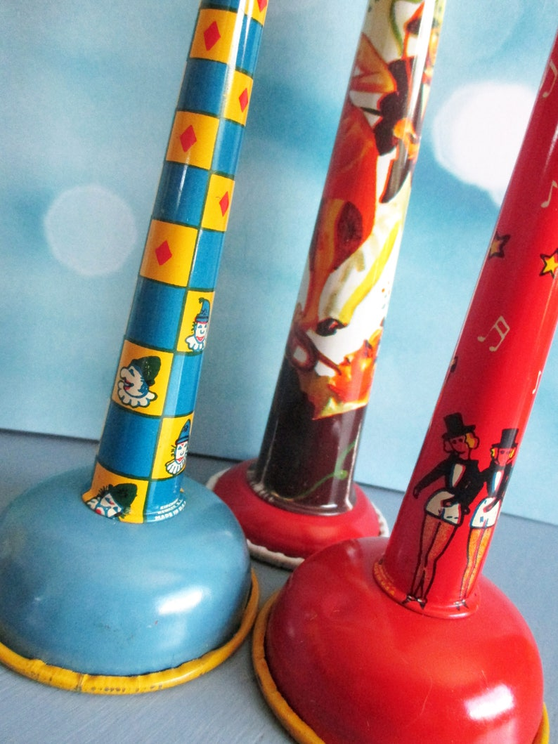 Vintage Tin Toy Horns Party Noisemakers Lithographed Metal image 0