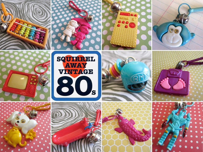 Vintage 80/'s Clip Charm 1980s Bell Charm Love Birds