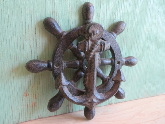 Vintage Cast Iron Anchor Door Knocker, Nautical Ship Wheel, Pirate Beach  Theme, Man Cave Boys Room Decor