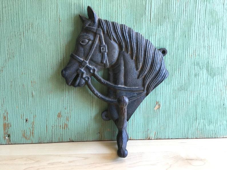Cast Iron 2 Horse head 2 Hook towel coat hat or key holder Western Tack