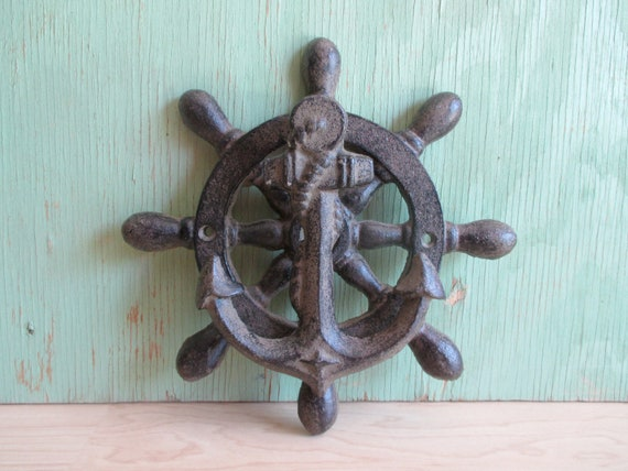 Vintage Cast Iron Anchor Door Knocker Nautical Ship Wheel | Etsy
