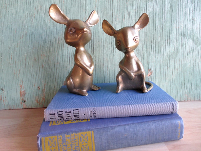 Vintage Brass Mice Pair of Solid Brass Mid Century Mouse image 0