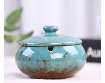 Outdoor Ashtray for Patio with Lid 5.7-inch Large Ceramic Blue