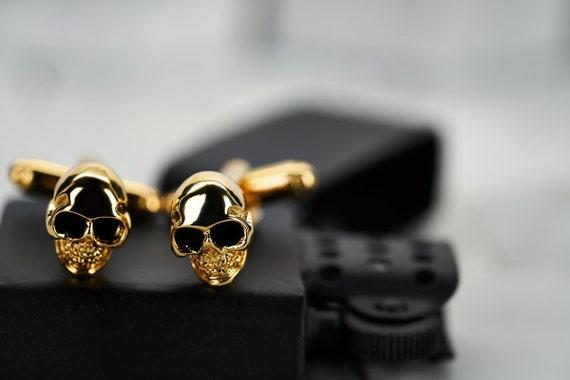Gold Skull Cufflinks. Mens Cufflinks. Mens Skull Cuff Links.   Etsy