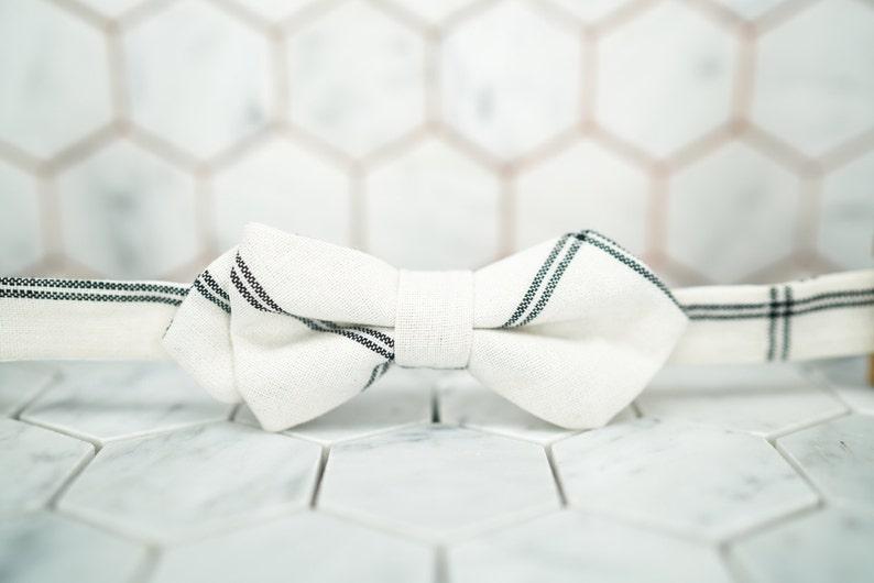 Mens White Linen Bow Tie Creme Striped Bowties Black White Plaid Bowtie Diamond Pointed Bowties Wedding bowties Groom Linen Bowties Summer