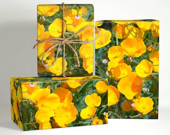 California Poppy Wrapping Paper; Gift Wrapping; summer wrapping paper; wedding flower gift wrap; Wedding Wrapping Paper; wedding gift wrap