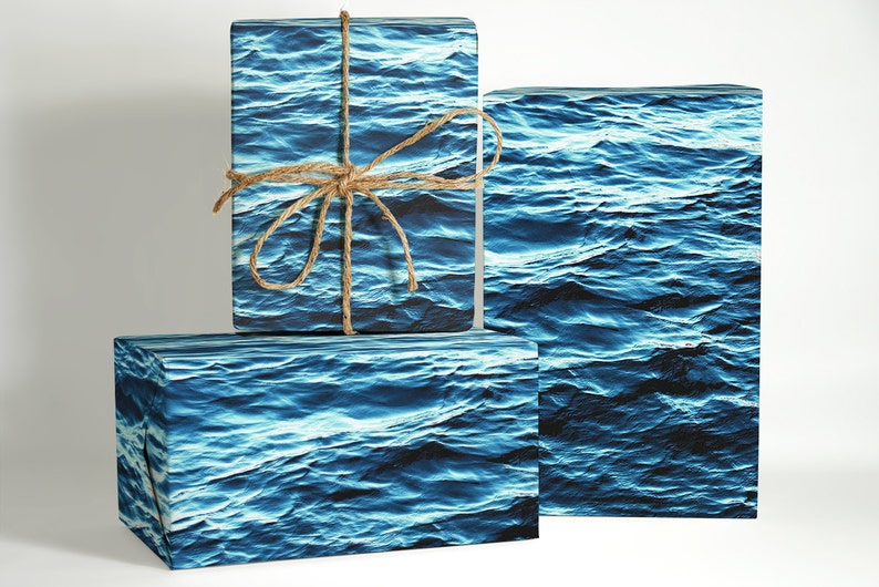 Ocean Water Wrapping Paper; oceanic gift wrapping; Valentines day gift for him; Christmas Wrapping Paper; beach wrapping paper