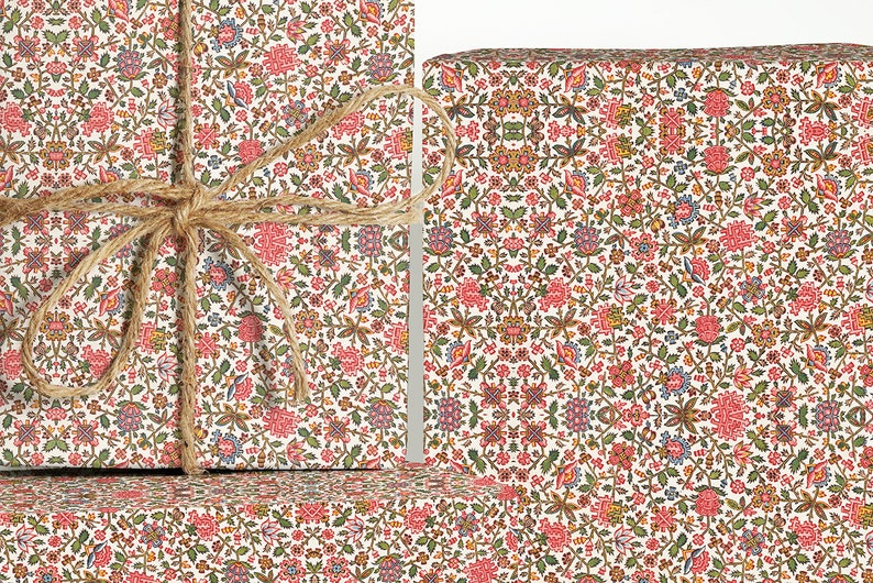 19th Century French Textile Wrapping Paper; Christmas Gift Wrapping; Christmas Wrapping Paper; Gift Wrapping; Textile Gift Wrapping; Gift