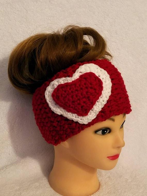 Red Heart Headband 3 10 Years Crochet Heart Headband Etsy