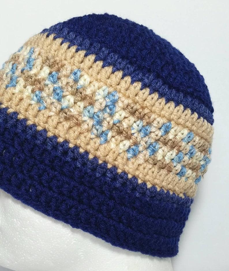 Skull Cap Men/'s Accessories Men/'s Navy Blue /& Brown Beanie Adult - Men/'s Crochet Blue Beanie 22-24 Men/'s Crochet Brown Beanie