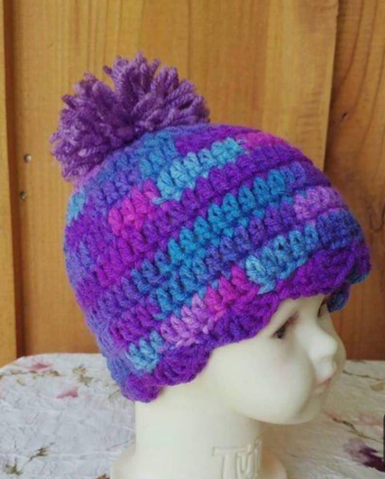 Handmade Crochet Baby Hat 6-12 months Purple White Beanie Cap