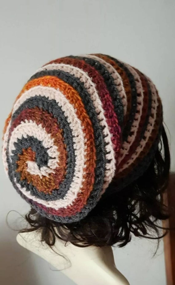 tam boho beanie hat Aran autumn leaf colours Slouch hat crochet spiral hat
