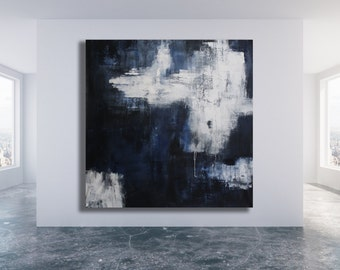 """Title: """"Reflection"""" / Bold XL Abstract Painting / Grey Abstract Painting / Grey Abstract Art / Grey and White Painting / Large Grey Painting"""