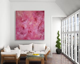 Large Pink Abstract Painting / Original Art / Modern Art / Contemporary Art / Extra Large Painting / Pink and White Painting