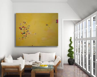 Original Art - Yellow Abstract / Texture Painting / Modern Art / Yellow Abstract Art / XL Colorful Painting / Contemporary Art