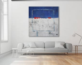 Extra Large Blue and Grey Abstract Art / Abstract Painting / Original Art / Modern Art / Contemporary Art / Blue Painting