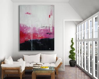 Pink, Grey and White Abstract Painting / Texture Painting / Modern Art / Pink Painting / Extra Large Art / Oversized Pink Painting