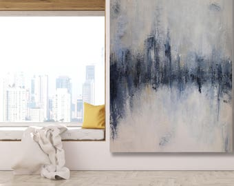 Large Textured Abstract Painting in Grey, Beige, Blue and White / Modern Art / Texture Painting / Grey and White Art / Original Art