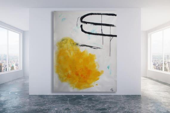 Original Art Minimaliste Moderne Art Jaune Art Abstrait Etsy