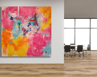 Colorful Abstract Art / Bold Abstract Art / Pink and Yellow Art / Modern Art / Large Painting / Large Colorful Art / Oversized Painting