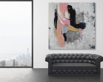 Large Texture Painting / Modern Art / Neutral Colors Abstract Art / Neutral Colors Modern Art / Pink and Grey Painting / Extra Large Art