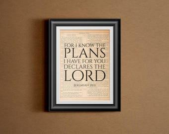 Jeremiah 29:11 - INSTANT - Printable - Scripture, Bible Verse, Art, Christian Wall Art