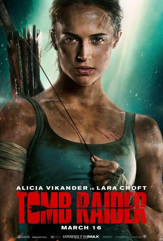 TOMB RAIDER Lara Croft 2018 neue Filmplakat Alicia Vikander | Etsy