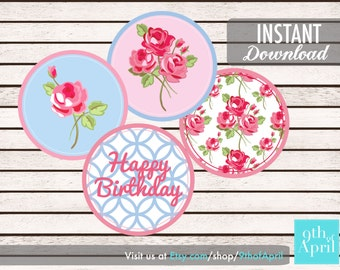 Dainty Flower Series Cupcake Topper // INSTANT DOWNLOAD