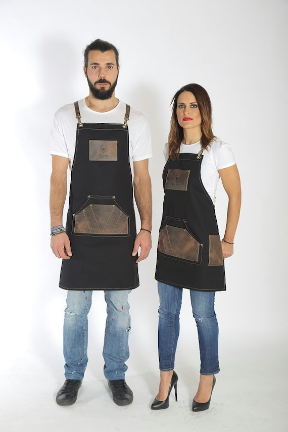 your quality leather variations in leather with Dom logo high personalized brown Barber apron PEqvpcEY
