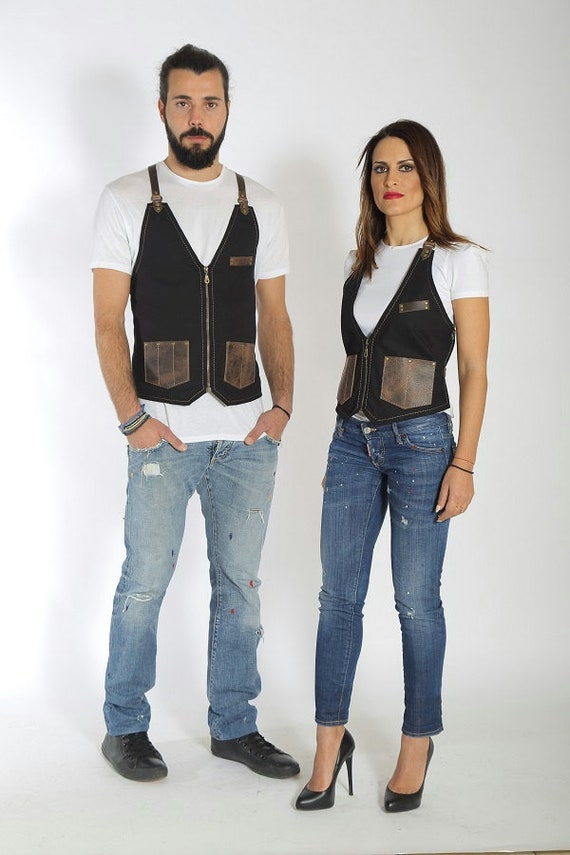 perfect gift Marilyn with salon or fashionable Stylist quality leather pockets hairdresser Paul name your with for vest logo high x6q4P1Bw