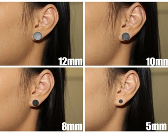 01c1bc7e5 matte black stud earrings, flat round studs, men's stud earrings