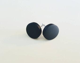 54e80cdfe black stud earrings, men's stud earrings, matte flat round studs